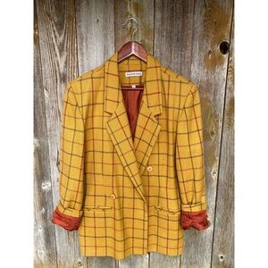VINTAGE wool oversized plaid blazer